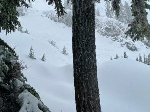 Looking back around the corner from where we trigger the avalanche