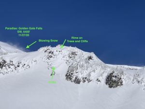Winds transporting snow and other signs of wind loading near Golden Gate Falls 6800' W aspect.