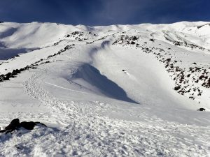 Wind scoured ridges on climbing rout 5,700-7700 feet
