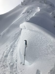 Small fresh cornices, not much fresh snow to blow around