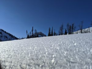 Surface hoar on east-facing slope at 6200'.