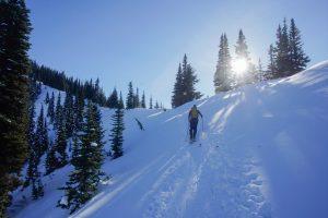 Blindingly sunny day as we created onto the NW ridge of Bullion Peak