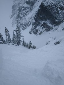Looking down Thunder Creek. The entire snow slope in view fractured and slid when we dropped part of a cornice.