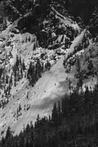 Guye Peak debris fan from Summit West, between 12 and 1. Image licensed CC-BY-NC-SA.