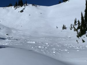 Avalanche Crown in the Mazama Bowl, starting on E aspect (the Knife Edge Ridge) and running along S aspect past the 2 andesite pillars and the slope know as 9-1-1.