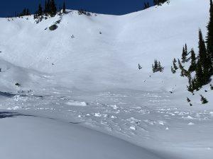 Avalanche debris on the S aspect.