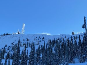Wind transporting snow at ridge top