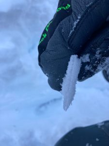 A closeup of the thin freezing rain crust from a profile at 5,100ft.
