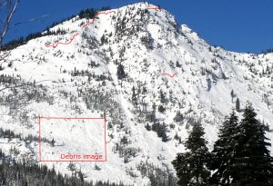 Lichtenberg Mtn  w estimated crowns from 5,000-5,600ft, SE. These were natural persistent slab avalanches  that ran on 12/19-20. See other photos for debris details at 4,000ft