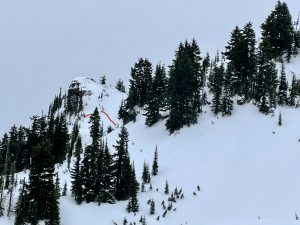 Old crowns from the 12/21 rain event are still prominent in the Crystal backcountry