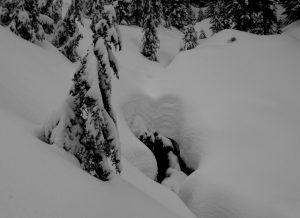 A decent snow base but open creeks are still a hazard