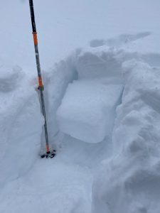 5900 ft, East, 34 deg, 15cm storm snow and low density snow above crust