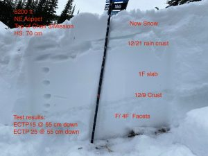 General structure of the Mission snowpack at 6200 ft. HS 70 cm.