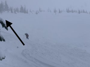 Skiers right side of crown