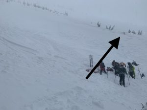 Skiers left side of crown and rescue party
