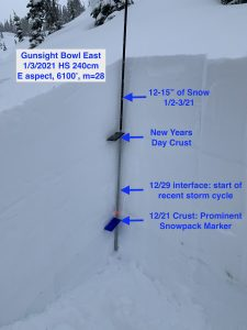 Snow profile from the far east end of Gunsight Bowl. 6100' E aspect, 28 degree slope.