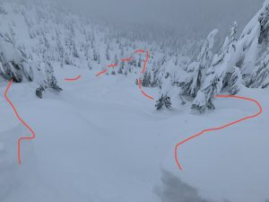 Cornice pop, above steep slope. Ran well into the mellow trees below.