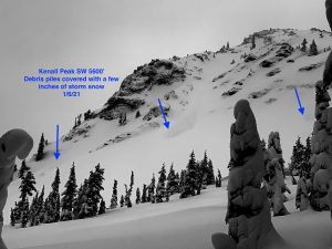 Debris piles on Kendall Peak from the overnight avalanche cycle.