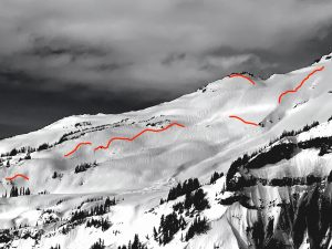 Large avalanches in the Van Trump area.