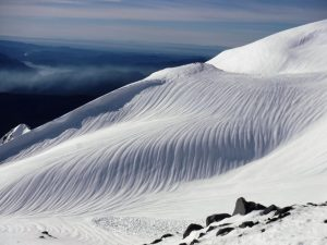 Meltwater channels and the tail of the big slab avalanche (photos altitude 6,200-7,000')