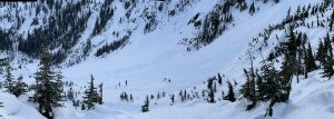 Avalanche debris covering the Source Lake Fan from the choke at the top of the fan down to the lake on 1/14