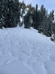Runnels on the approach up the Alpental Valley on 1/14