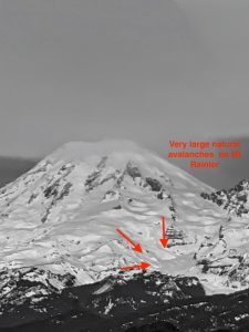 Very large natural avalanches on Mt Rainier viewed from White Pass.