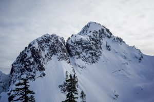 Rain runnels on the NW aspect of Chair visible up to the near the summit.
