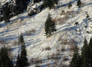 Debris beneath Hubba Hubba ice climb