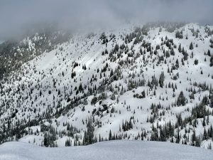 Brief sun breaks triggered roller balls off of rocky areas on the backside of Silver Basin