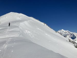 A cornice at 6500ft facing east.  Old signs of natural cornice failures were present, probably from Jan 12.