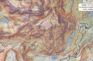 Caltopo screenshot of approximate route with location of wind slab in blue.