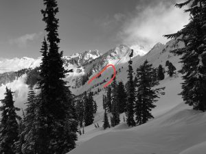 A large slab avalanche on a W facing slope at about 6000ft