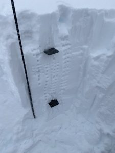 Pit at 6500ft. Cards are on placed on what we guessed were the Jan 14 and Dec 9 crusts
