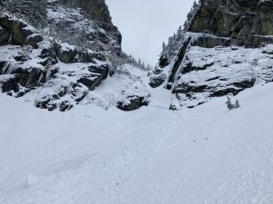 Don't ski the Crooked Couloir now.  Crown 60-90cm.