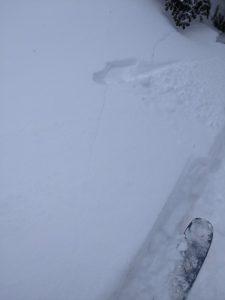 Cracking in recent snow