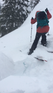 Push test on wind drift: Sensitive wind slab on SW aspect at 4600ft on the skyline lake trail.
