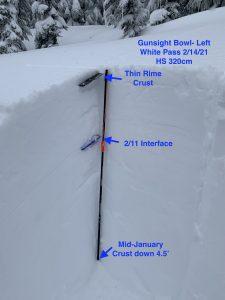 Snow profile from Gunsight Bowl
