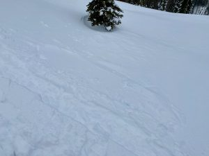Small wind slab that popped out below skintrack on cross loaded NNE aspect at 5.5k