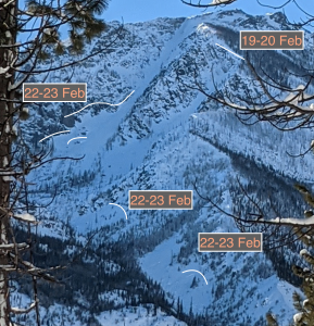 Crowns in Cannon Mountain Col from across valley