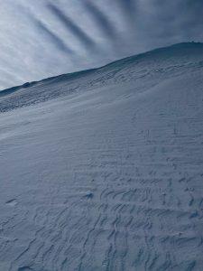 Wind loaded terrain near ridgeline on an E aspect