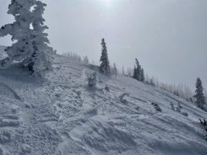 Scoured terrain near ridgeline on a W aspect