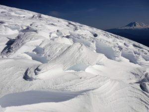 Wind scoured snow on Monitor Ridge 50 feet below the rim (8,200' on a south aspect)