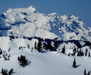 Monte Cristo and Kyes Peak from afar. Deep slab avalanches from last week or older in many areas.