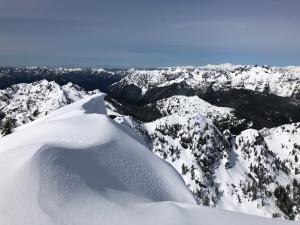 Cornice overhang/potential broken crown west of Mt Ellinor summit