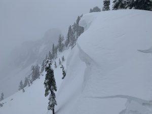 Shooting cracks in wind loaded snow.