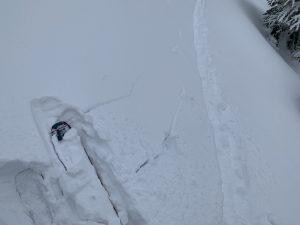 Uptrack tests showing signs of a soft slab over weaker snow.