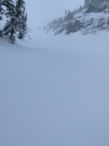 S Couloir Lundin on the way up.