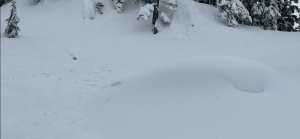 Typical natural storm slab observed on convexities and/or steep terrain.