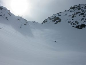 We stayed off of thickly pillowed looking steep terrain such as this.